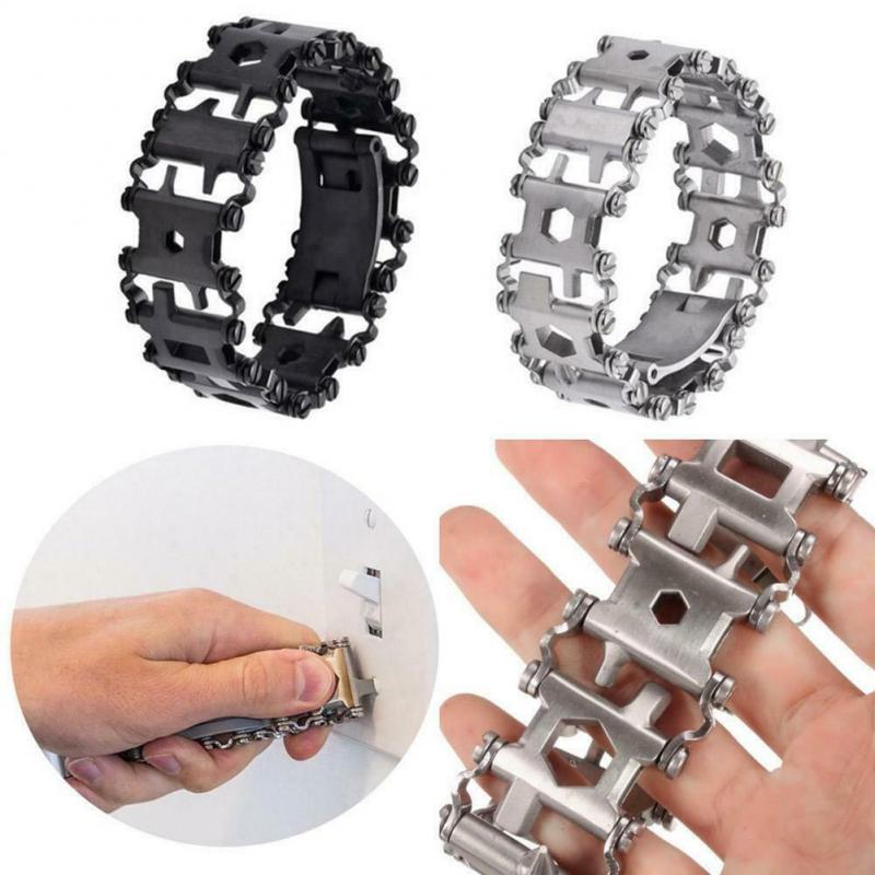 29 In 1 Multifunctional EDC Tread Bracelet Stainless Steel Outdoor Bolt Driver Kits Travel Spliced Wearing Survival Bracelet