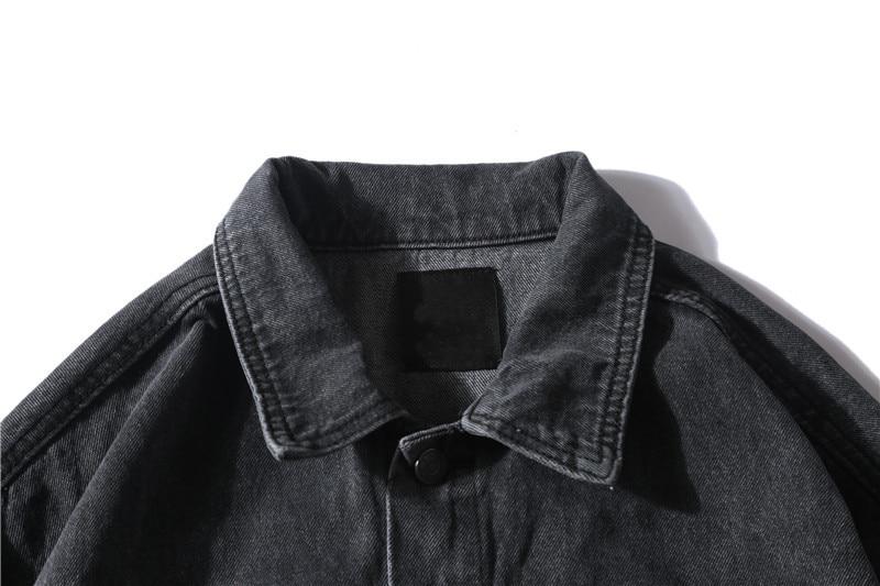 Ciemny ikonę ręcznie farby płomień jeansowa kurtka mężczyźni