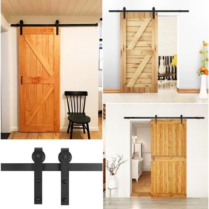 200cm grange porte rail suspendu en acier au carbone rustique interieur coulissant bois grange materiel bois porte piste en acier inoxydable montage