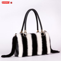 Luxury fashion new real fur mink women bag clip leather handbag genuine leather wild hand ladle shoulder Messenger bags female
