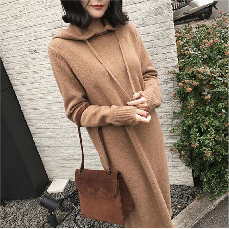 Autumn Winter Warm Sweater Dress Women Long Sleeve Warm Hooded Knitted Dress Casual Solid Long Dress in Dresses from Women 39 s Clothing