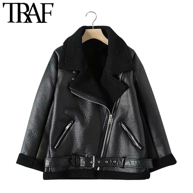 TRAF Women Fashion Thick Warm Winter Fur Faux Leather Oversized Jacket Coat Vintage Long Sleeve Female Outerwear Chic Tops