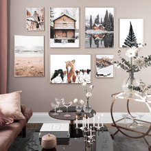Horse House Snow Mountain Tree Bird Beach Wall Art Canvas Painting Nordic Posters And Prints Pictures For Living Room Home