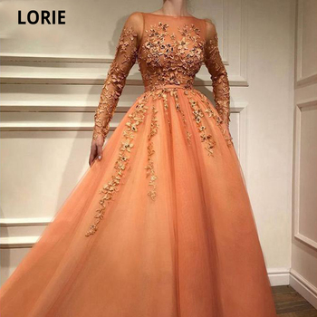 LORIE Princess Prom Dresses with Long Sleeves Tulle Lace Appliques Formal Evening Gown Dubai Saudi Arabic Elegant Muslim Turkish muslim turkish evening dresses 2018 a line long sleeves tulle appliques beaded dubai saudi arabic long elegant evening gown