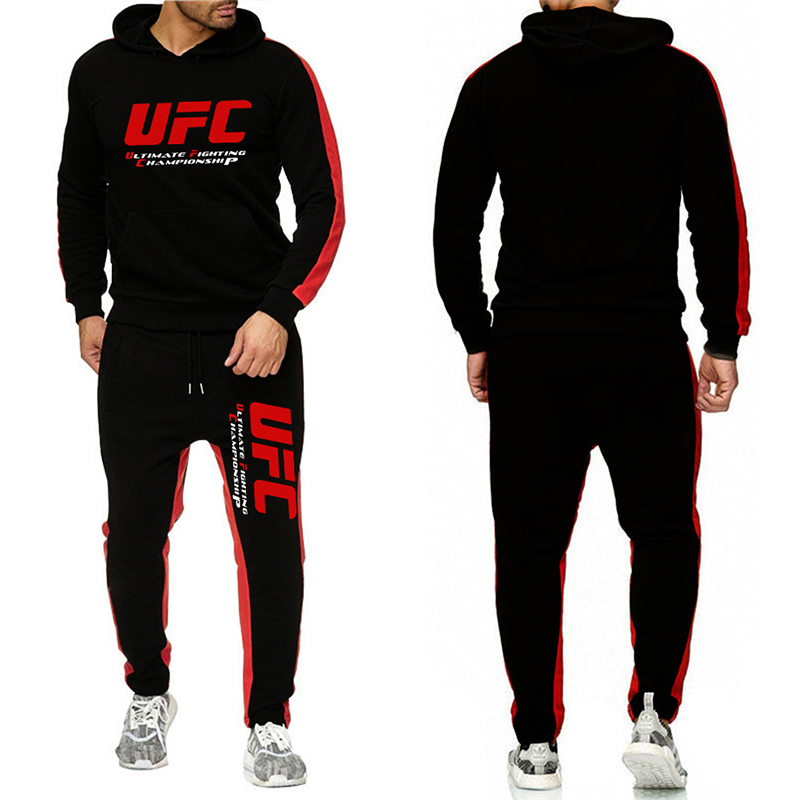 UFC Sweatshirts Sets European Code Ultimate Fighting Letter Print Sweater & Sports Pants Two-piece Sports Casual Track Suit Men
