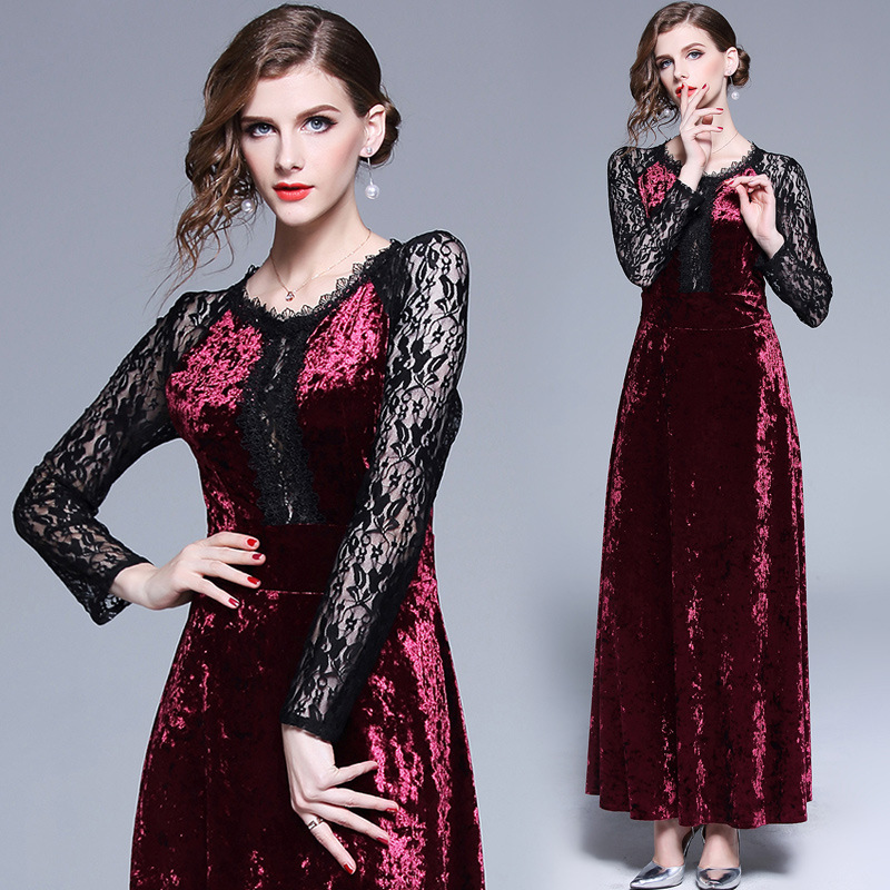 2018 Autumn And Winter New Style WOMEN'S Dress Europe And America Lace Joint Waist Hugging Slimming Velvet Dress Explosion