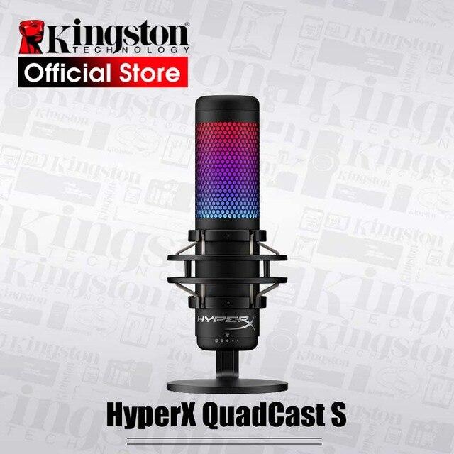 קינגסטון HyperX QuadCast s מקצועי E ספורט מיקרופון מחשב מיקרופון בשידור חי rgb מיקרופון מכשיר קול משחק