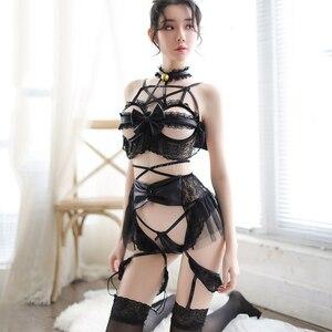 Image 4 - Japoński diabeł Cosplay kostiumy kobiety Sexy koronki Bat bandaż bielizna zestaw bielizna Babydoll otwórz kubek biustonosz zestaw Sexy kostiumy