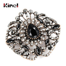 Kinel Fashion Kristal Besar Bunga Wanita Bros Vintage Hitam Bros Pin Kerah Resin Warna Emas Turki Perhiasan India(China)
