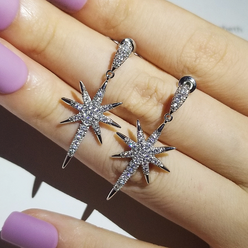 2pcs Pack 925 Sterling Silver Stars Cut Zircon Jewelry Set Engagement Ring Stud Earring For Women