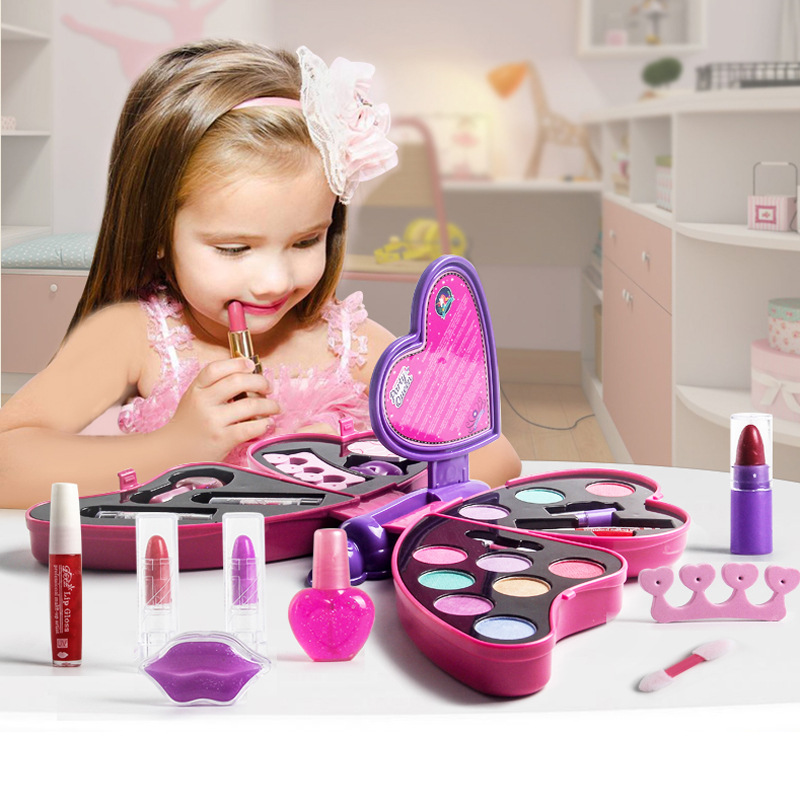 Kid Makeup Box Set Toys Butterfly Dressing Cosmetics Girls Toy Plastic Safety Beauty Pretend Play Children Makeup Games Gifts