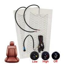 Universal 12v de fibra carbono kit aquecedor assento do carro interruptor redondo conjunto almofada assento do carro almofadas calor inverno mais quente assento cobre conjunto