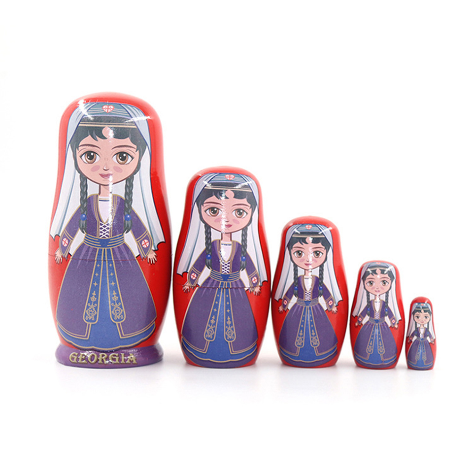 5pcs Russian Matryoshka Dolls Basswood Creative Cute Girls Nesting Dolls Gift Russian Traditional Feature Ethnic Style DIY Dolls