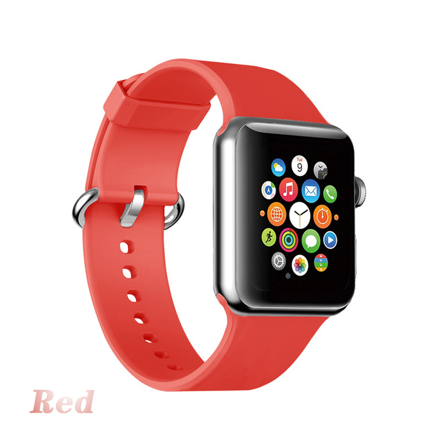 Silicone Strap For apple watch band 40mm 42mm Ring buckle bracelet loop For iwatch series 4 5 3 2 1 38mm 44mm Smart watch Band