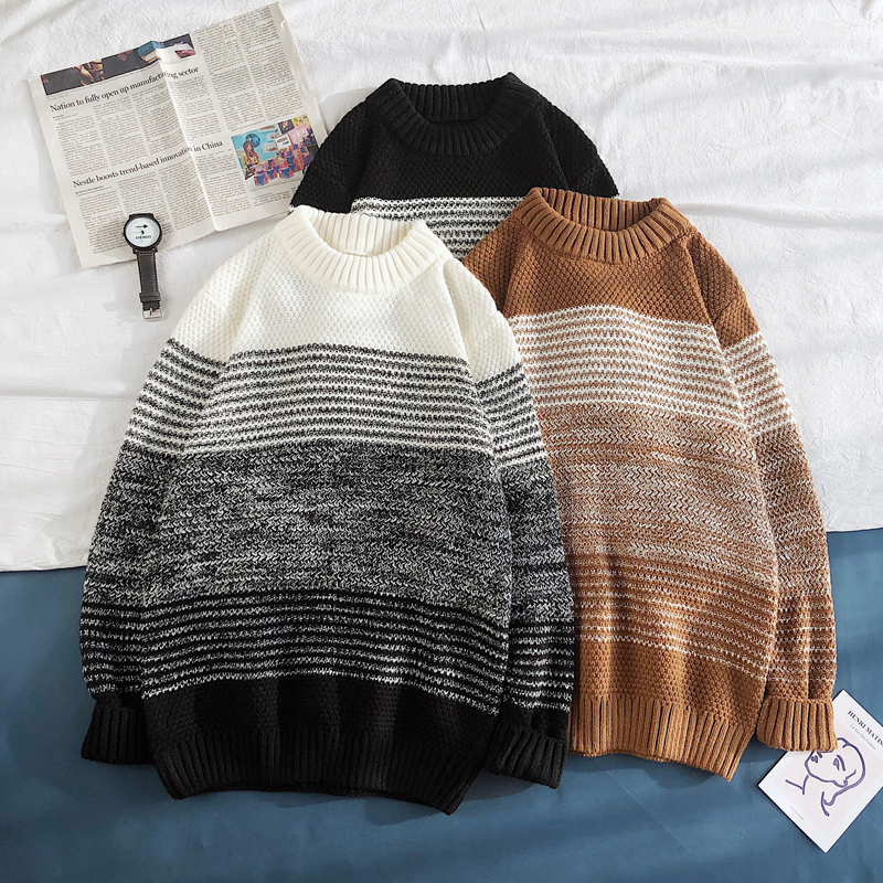 Winter Sweater Men Warm Fashion Contrast Color Casual Knit Sweater Street Wild Loose Long Sleeve Striped Pullover Male Clothes
