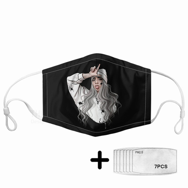 Hip-hop Billie Sunflower Print Women Mouth Mask 7pcs PM2.5 Filters Kpop Rapper Star Elastic Comfortable Masque For Kids Children 1