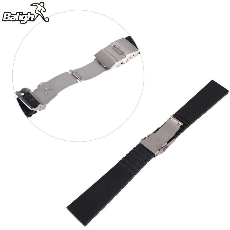 Hot Sale Black Silicone Rubber Waterproof Men& Women Watch  20 22 MM Strap Band Deployment Buckle Watch Band