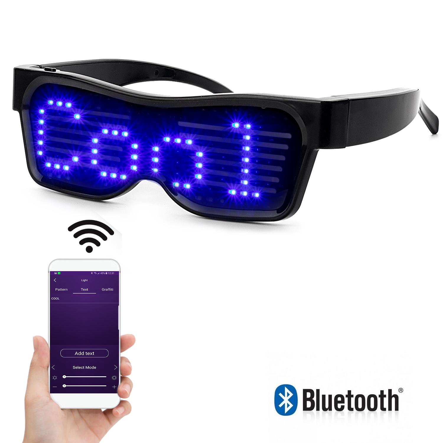 Bluetooth Programmable Text USB Charging LED Display Glasses Dedicated Nightclub DJ Holiday Party Birthday Children's Toy Gift