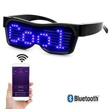 블루투스 프로그래밍 가능한 텍스트 usb 충전 led 디스플레이 안경 나이트 클럽 dj 휴일 파티 생일 어린이 장난감 선물 전용