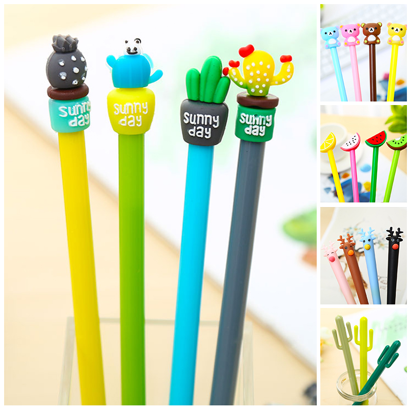 Korean Bear Kiwi Fruit Cute Cactus Gel Pen Kawaii Rainbow Lemon Watermelon School Office Supply Stationery Store Stationary Item