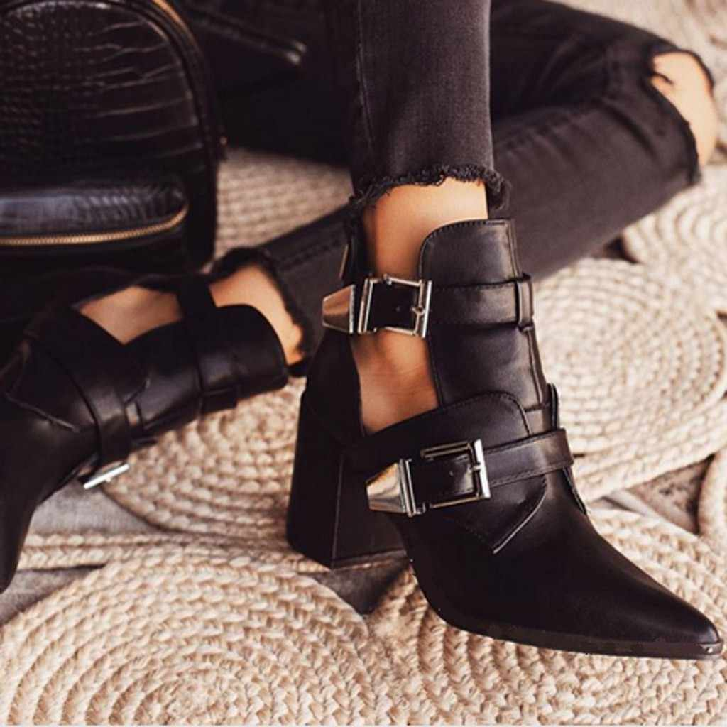 Retro Ankle Boots Women Summer Motorcycle Boots Black Leather Short Boot Fashion Buckle Strap High Heel Gothic Shoes Pointed Toe