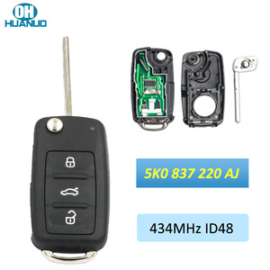 5K0 837 202 AJ 3 Button Flip Folding Remote Key 434MHZ ID48 Chip 5K0837202AJ for-VW Tiguan Sharan Golf 6 EOS Up Camper Scirocco