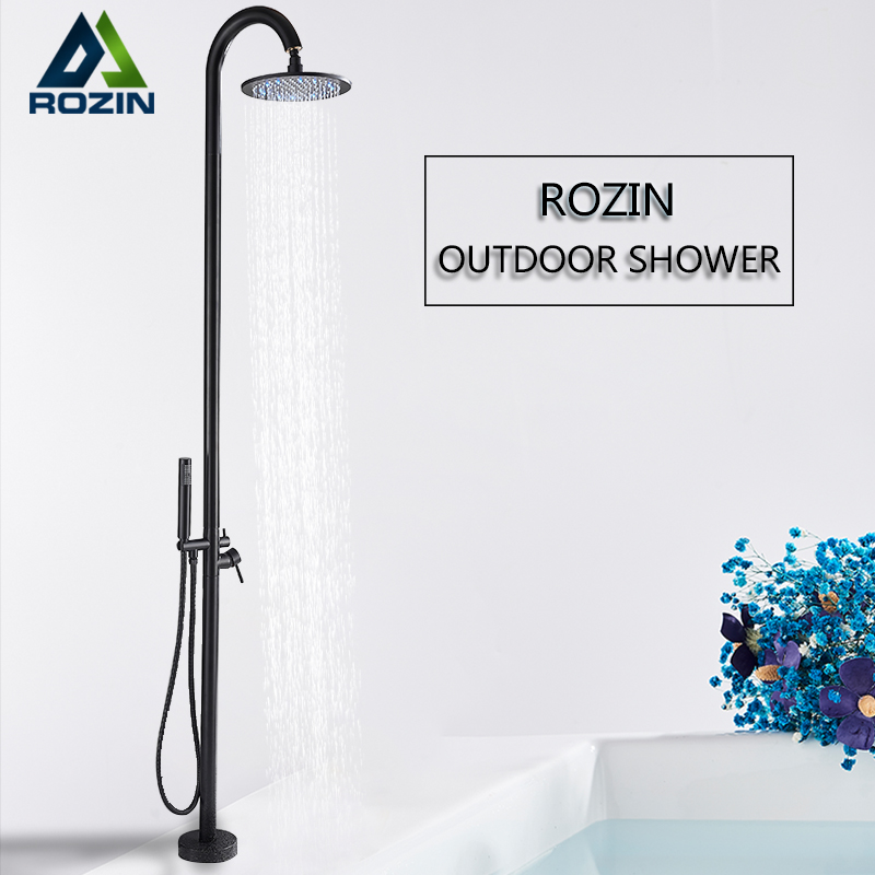 Rozin Outdoor Shower Faucet Set Black LED Floor Standing Swimming Pool Shower Kit Rotatable 10