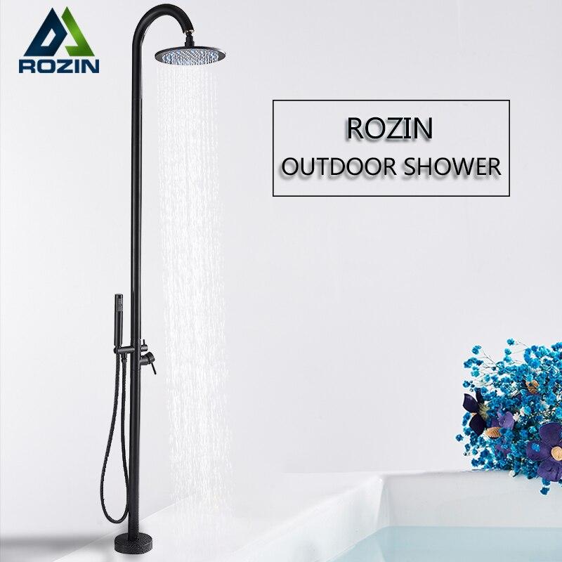 Rozin Outdoor Shower Faucet Set ORB Black LED Floor Standing Swimming Pool Shower Kit Rotatable Rainfall Head Bathroom Mixer Tap