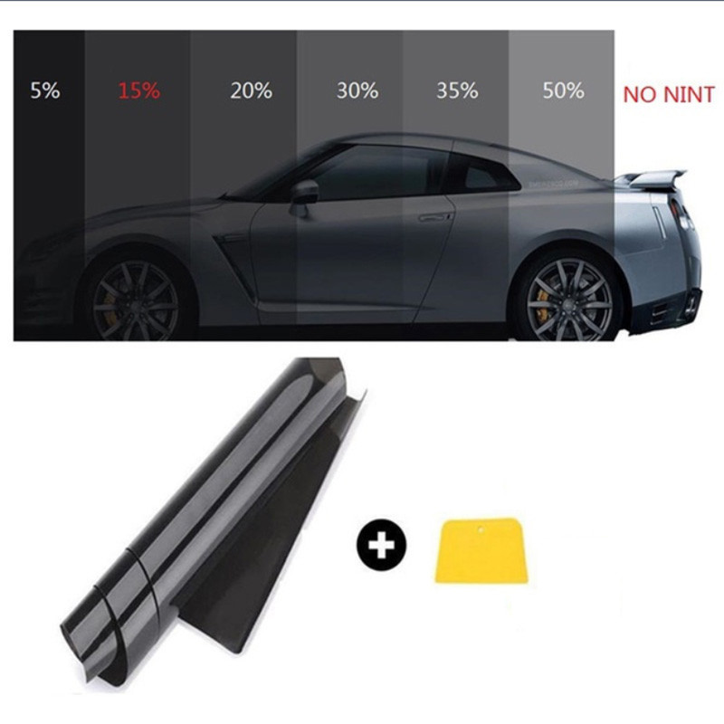 0.5m x 3m Dark รถสีดำม้วนฟิล์มกระจกรถยนต์อัตโนมัติพลังงานแสงอาทิตย์ฤดูร้อนสำหรับรถยนต์หน้าต่างด...