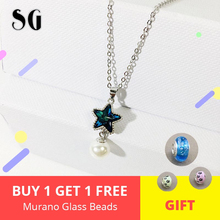 Sparkling Blue Star Pendant Imitation Pearl Necklace 925 silver for Women fashion jewelry gift 2019 new arrivals