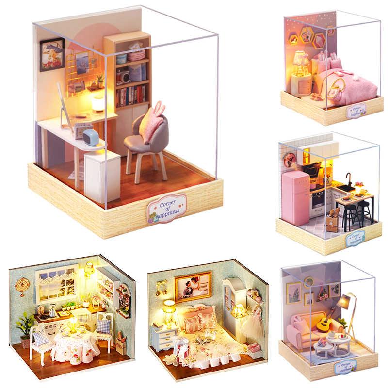 Cutebee 인형 집 가구 미니어처 인형 집 DIY 미니어처 하우스 룸 박스 어린이를위한 극장 완구 DIY 인형 집 H012