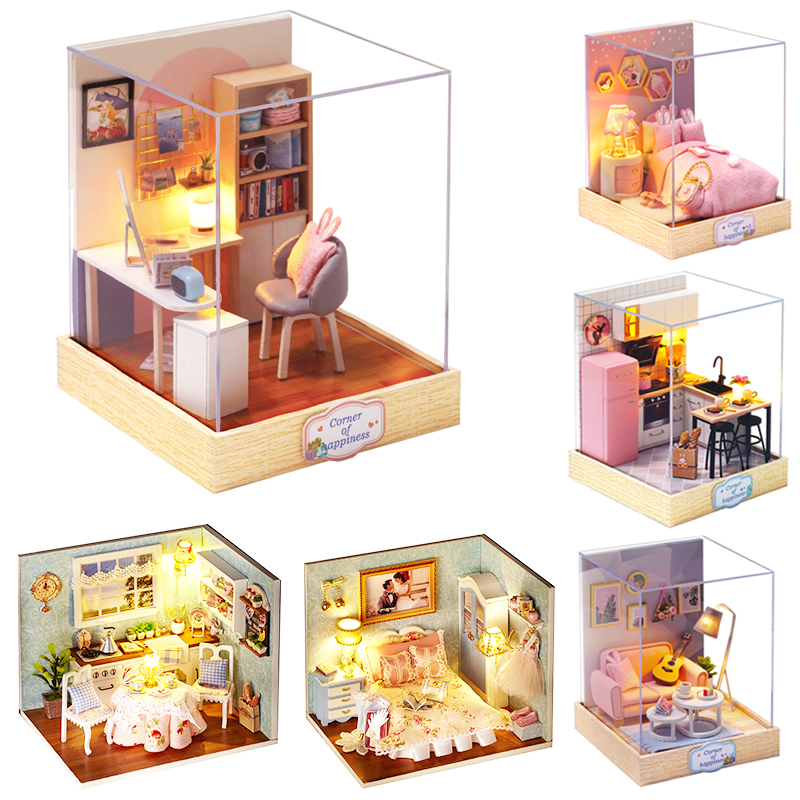 Cutebee Doll House Furniture Miniature Dollhouse DIY Miniature House Room Box Theatre Toys For Children DIY Dollhouse H012