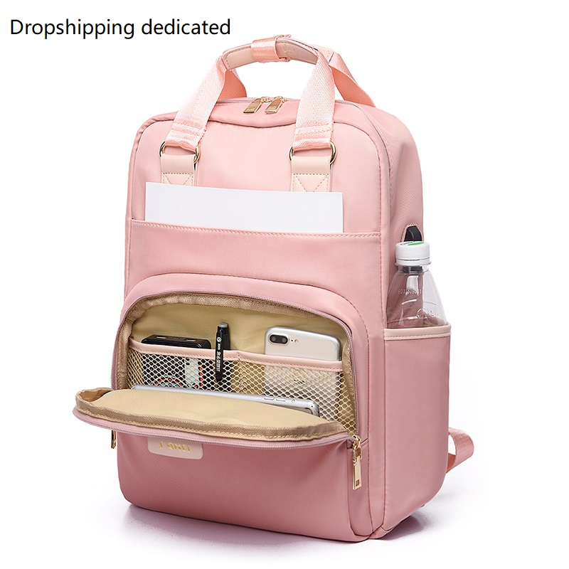 Waterproof Laptop Backpack Female Fashion Backpack Women 13 13.3 14 15 15.4 15.6 Inch Back Pack Oxford Cloth Black Pink 2019