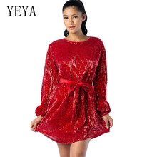 YEYA Glitter Sequins Mini Dress Elegant Long Sleeve Hollow Out Lace-up Sequined Dress High Quality Female Party Short Dresses navy lace hollow out short sleeves mini dresses with lace up design