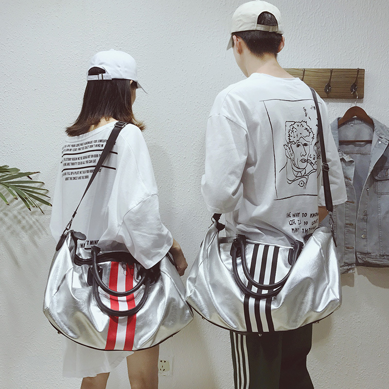 Короткая дорожная сумка для мужчин и женщин, новый стиль, цветная дорожная сумка в полоску, сумка для багажа, фитнеса, Большая вместительная