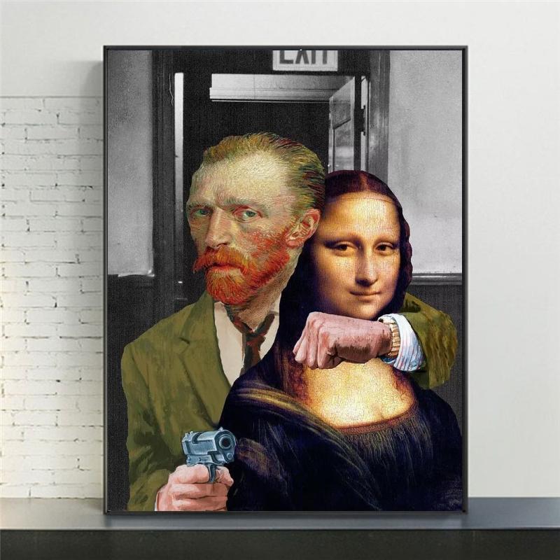 Funny Van Gogh and Mona Lisa