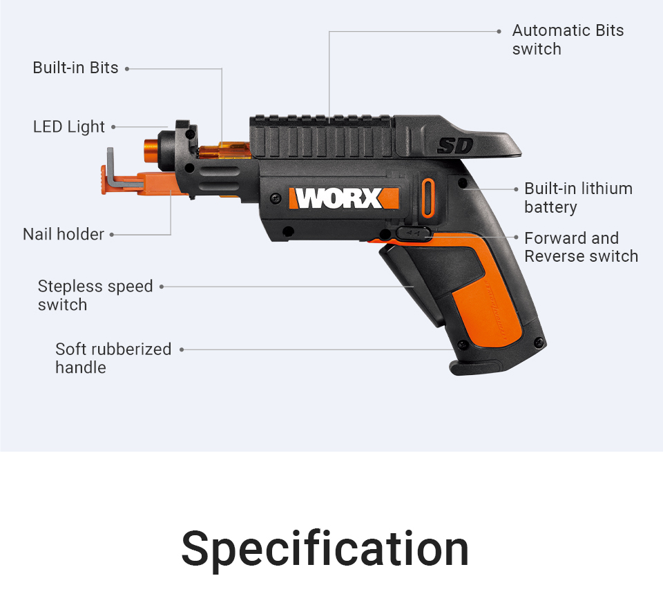 Features of Worx 4V SD SLIDE DRIVER