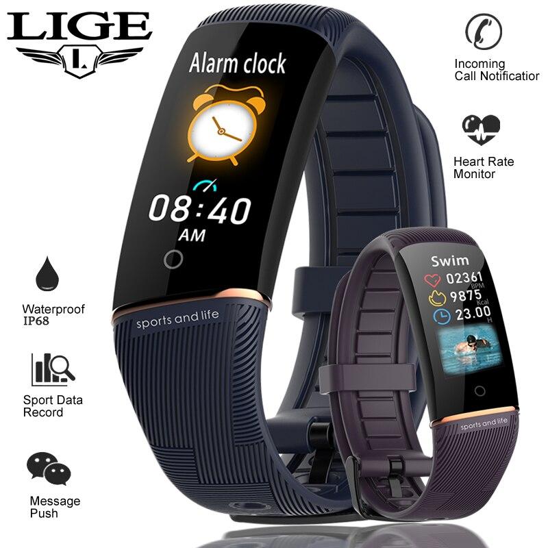 LIGE 2019 Новый умный Браслет OLED цветной дисплей смарт браслет монитор сердечного ритма модный фитнес трекер мужские умные спортивные часы + коробка Смарт-браслеты      АлиЭкспресс