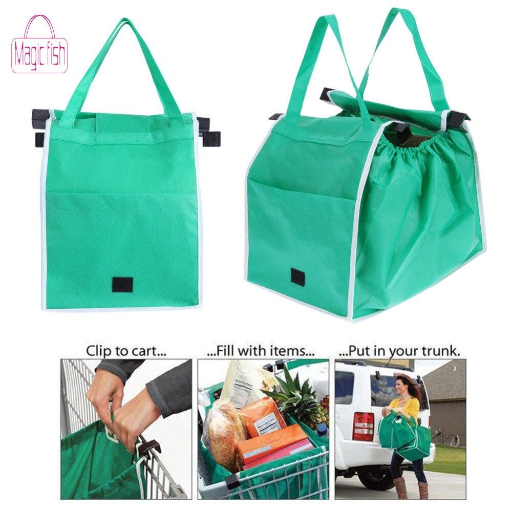 Magic Fish 1 pc Shopping Bag Foldable Eco-friendly Reusable Large Trolley Supermarket Large Capacity Tote Bag(China)