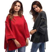 Fashion New Women Three Quarter Flare sleeve Loose Hoodies Coats Jumper Pullover Hollow Tops Coat Spring Fall Sweatshirts C422