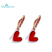 цены MYQAMRA Authentic Pure 18k Yellow GoldLittle red heart  For Women Daily Wear Gold Earring Jewelry Send a Gift To a