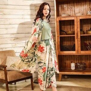 Image 4 - Women Fresh Style 4Pcs Pajama Set Soft Wide Sleeve Loose Cardiagn+Vest+Shorts+Pants Sleepwear Suit Ladies Homewear Casual Wear