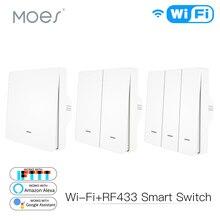 Interruptor de parede inteligente wifi, transmissor de botão rf433 smart life tuya app de controle remoto funciona com alexa e google home
