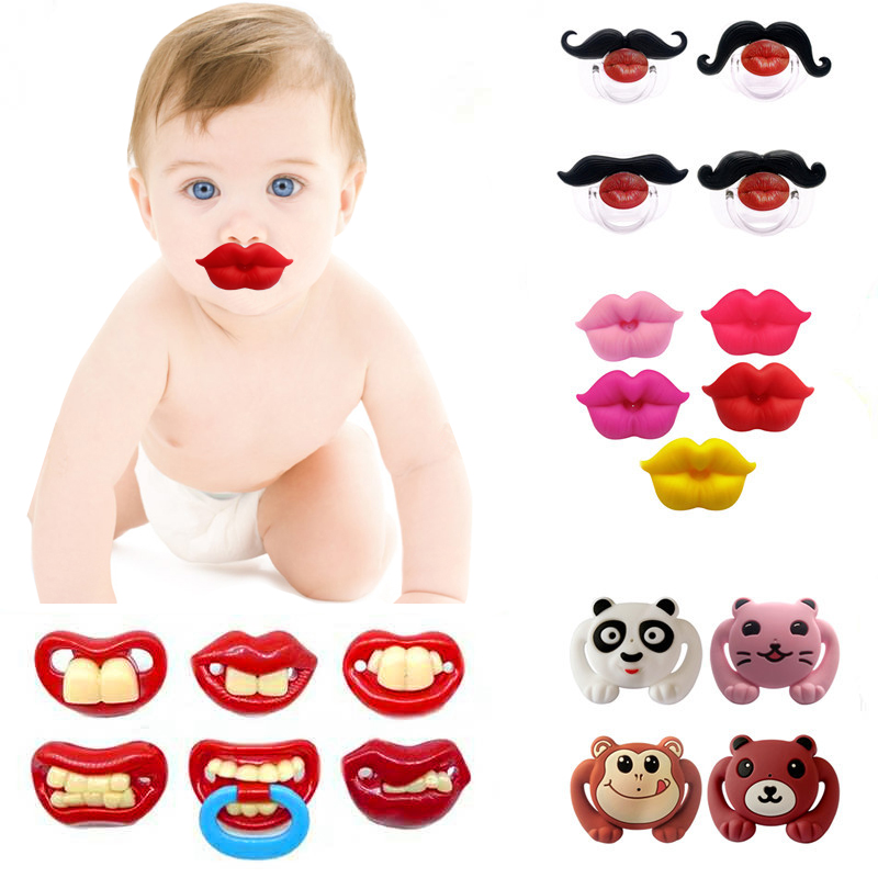 Baby Pacifier Red Kiss Lips Dummy Pacifiers Joke Prank Funny Silicone Baby Nipples Teether Soothers Pacifier Baby Dental Care