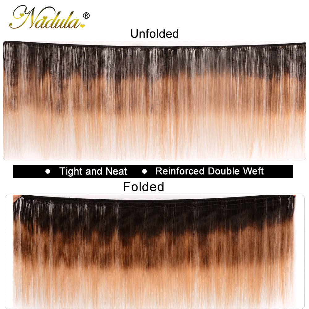 Nadula Hair T1B/4/27 Ombre  Straight Hair s 1Piece Can Be Mixed  Hair Bundles 100%  s 2