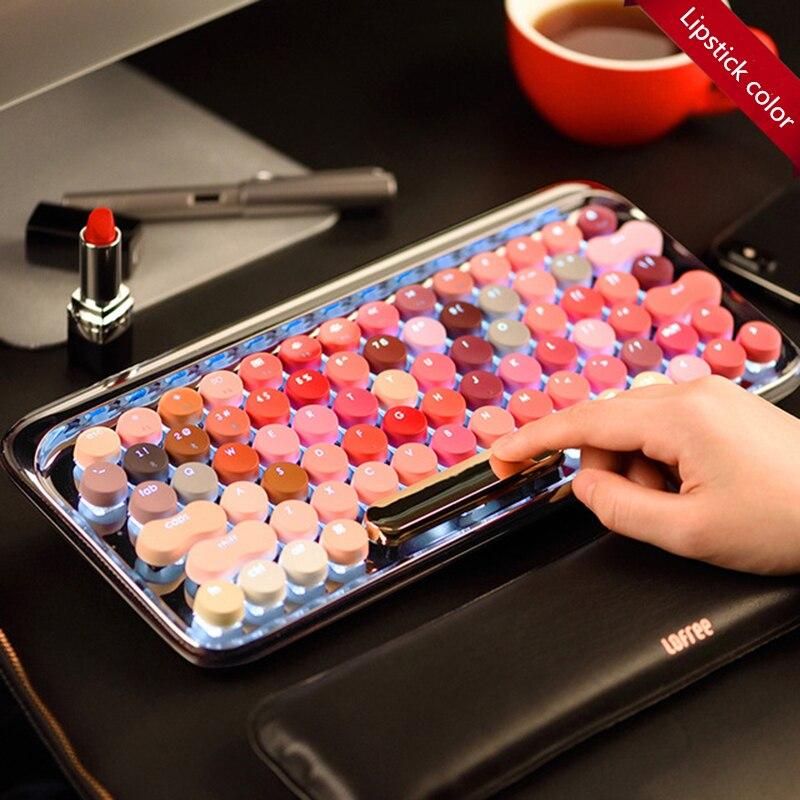 Circle Dot Bluetooth Wireless Girl Lipstick Blue Axis Mechanical Keyboard For Apple MAC Gaming Keyboard79 (key)