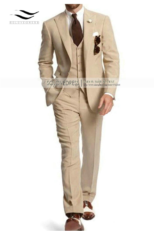 Men's Suit Formal Business Suits 3 Pieces Notch Lapel Solid Tuxedos Best Man For Wedding Groomsmen (Blazer+vest+Pants) Beige New - 2