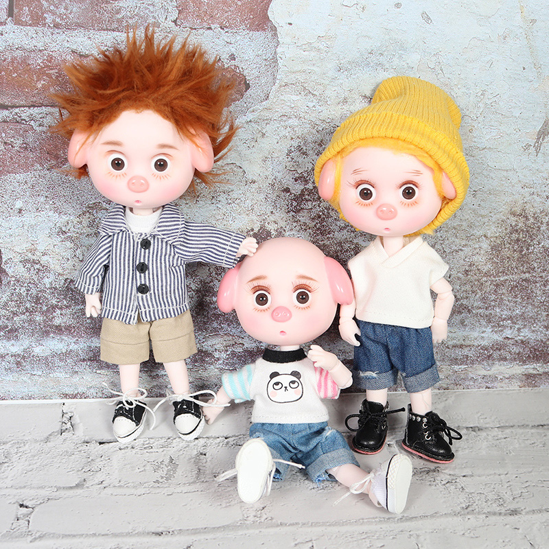 1/12 BJD Doll 26 Joint Body 15CM Mini Doll Lucky Pig Ob11 Doll With Outfit Shoes Makeup And Box Combination Set Gift Toys