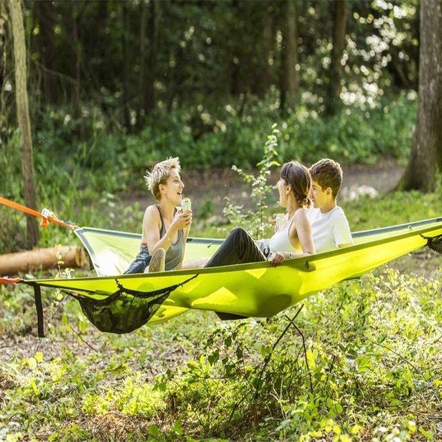 MULTI PERSON HAMMOCK PATENTED 3 POINT DESIGN Portable Hammock Triangle Aerial Mat Convenient Camping Sleep Dropshipping|Hammocks| - AliExpress