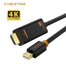 Cabletime thunderbolt mini displayport dp para hdmi-cabo compatível mini adaptador dp para macbook pro projetor de ar câmera tv n017